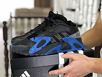 Кроссовки Мужские Хит Весна Черные с Синим в стиле Adidas Streetball