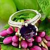 Серебряное кольцо с золотом Лада вставка фиолетовый фианит вес 4.5 г размер 17, фото 4