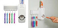 Держатель с дозатором для зубных щёток, Диспенсер для зубной пасты, Настенный дозатор пасты с держателем