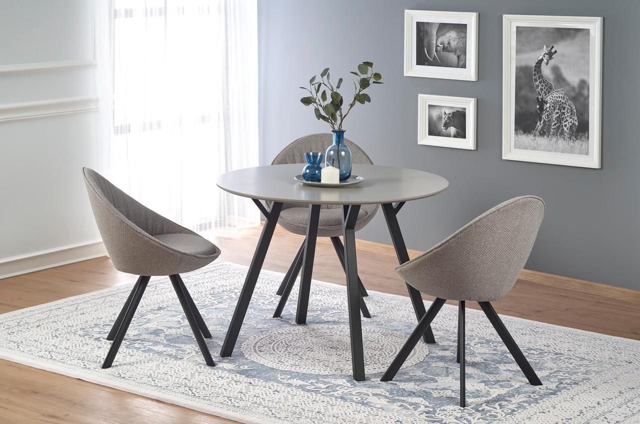 Стол обеденный деревянный BALROG круглый Halmar серый/черный