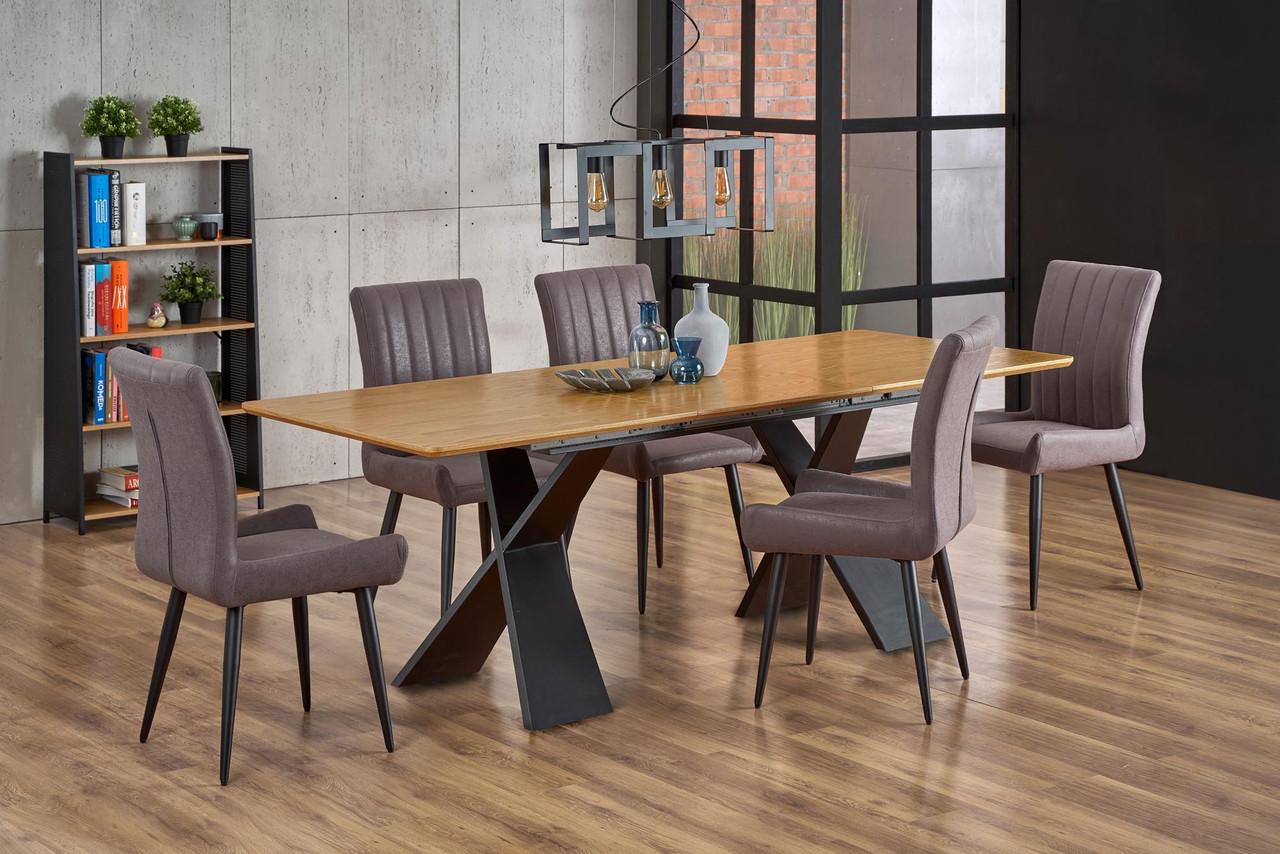 Стол обеденный деревянный CHANDLER Halmar дуб/черный