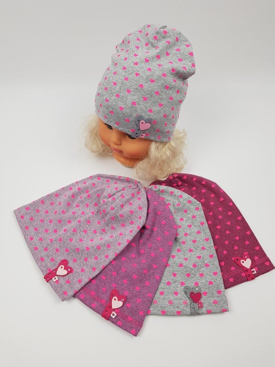 Детские трикотажные демисезонные шапки для девочек оптом, р.42-44, Польша
