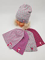 Детские трикотажные демисезонные шапки для девочек оптом, р.42-44, Польша, фото 1