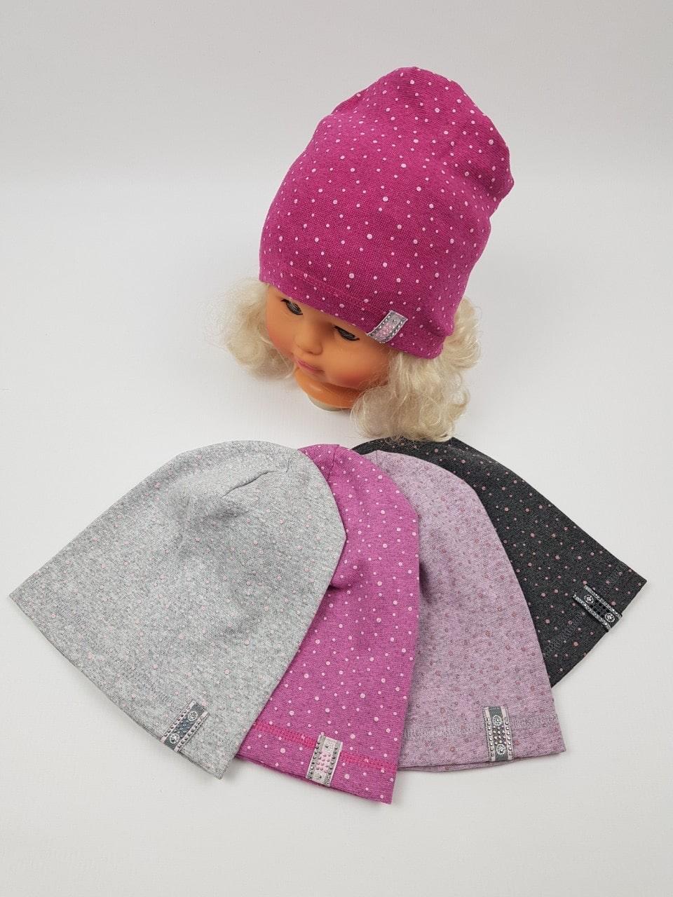 Детские трикотажные демисезонные шапки для девочек оптом, р.44-46, Польша