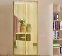 Антимоскитная штора на дверь на магнитах Magic Mesh Желтая