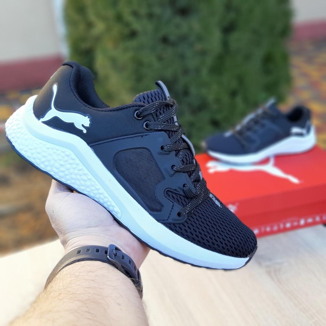 Чоловічі шкіряні кросівки Puma Hybrid Pacer чорні на білому
