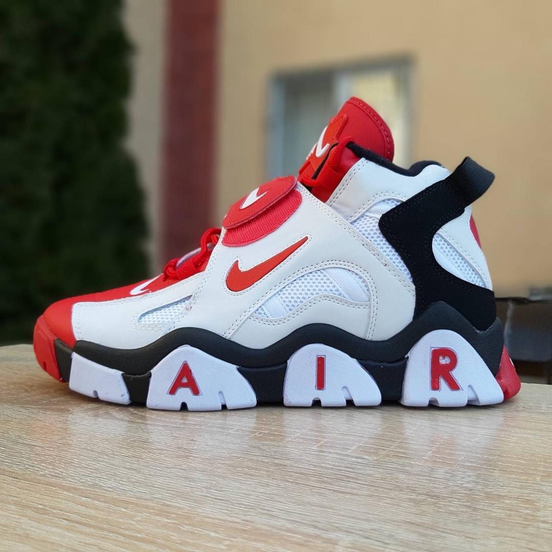 Мужские текстильные  кроссовки Nike Air Barrage белые с красным