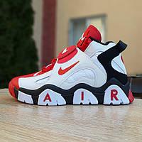 Мужские текстильные  кроссовки Nike Air Barrage белые с красным, фото 1