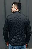 Чоловіча Стильна демісезонна куртка чорна, фото 2