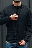 Чоловіча Стильна демісезонна куртка чорна, фото 3