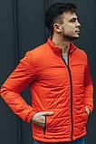 Чоловіча Стильна демісезонна куртка оранж, фото 4