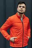 Чоловіча Стильна демісезонна куртка оранж, фото 5
