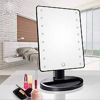 Настольное зеркало для макияжа Mirror c LED подсветкой 16 диодов квадратное Черный