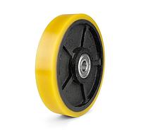 Колесо чугун с полиуретановым контактным слоем, диаметр 250 мм, с подшипниками, без кронштейна