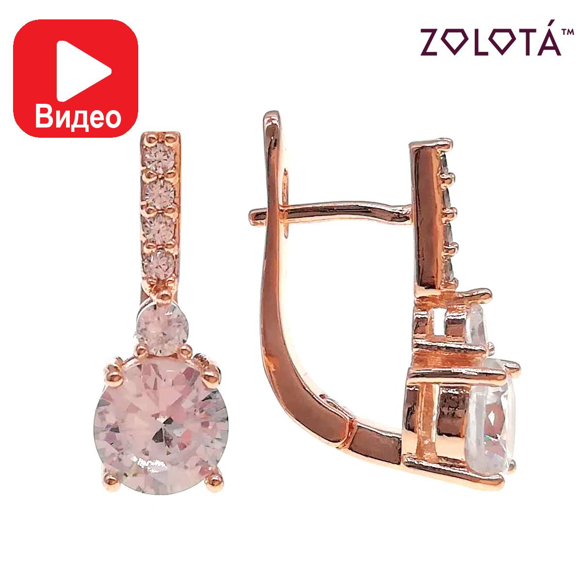 Серьги Zolota, размер 19х7 мм, белые фианиты (куб. цирконий), вес 4 г, позолота PO, ЗЛ00928 (1)