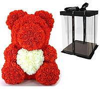 Мишка с сердцем из 3D роз Teddy Rose 40 см Красный + подарочная упаковка