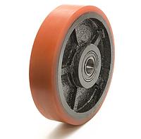 Колесо чугун с полиуретановым контактным слоем, диаметр 200 мм, с подшипн., без кроншт., облегченное