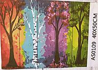 Картина по номерам на дереве Времена года  40х50см