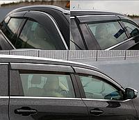 Дефлекторы окон (ветровики) Toyota Highlander 2014- С Хром Молдингом
