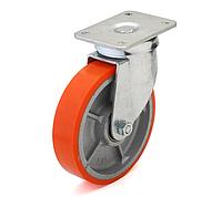 Колесо с поворотным кронштейном с площадкой, диаметр 125 мм, диск чугун с полиуретановым контактным слоем