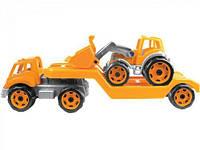 Автовоз с трактором ТехноК, оранжевый.  scs