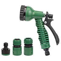 Набор для полива: пистолет распылитель 7-ми режимный 2 коннектора+адаптер ABS Grad (5012525), фото 1