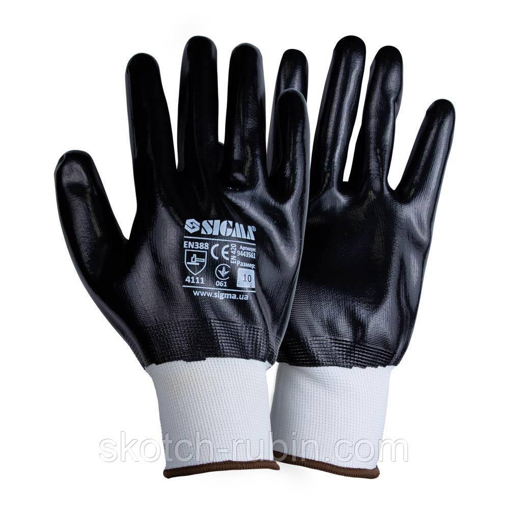 Перчатки трикотажные с полным нитриловым покрытием р10 (черные манжет) Sigma (9443561)