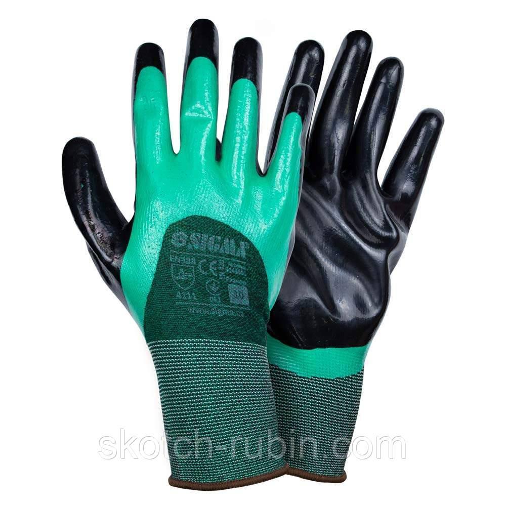 Перчатки трикотажные с двойным нитриловым покрытием р10 (зелено-черные манжет) Sigma (9443601)