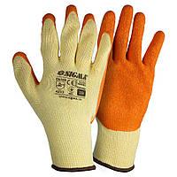 Перчатки трикотажные с частичным латексным покрытием кринкл р10 (оранж манжет) Sigma (9445461)