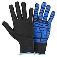 Перчатки трикотажные с латексным покрытием (паутина на ладони) р9 (синие манжет) Sigma (9445531)