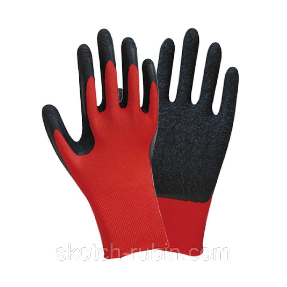 Перчатки трикотажные с частичным латексным вспененным покрытием р9 (черные манжет) Sigma (9445571)
