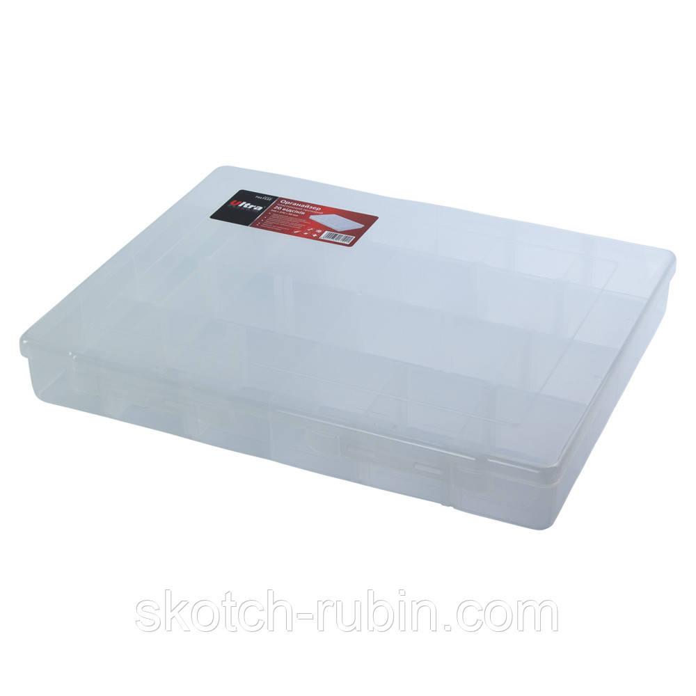 Органайзер пластиковий прозорий 20 відсіків 350×270×50мм ULTRA (7417122)