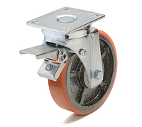 Колесо с поворотным кронштейном с тормозом с площадкой, диаметр 200 мм, диск чугун с полиуретанм