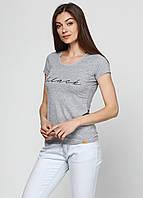 Женская футболка коттон с надписью Black 7109 Серый
