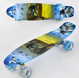 Скейт Пени Борд Penny Board с подсветкой колес голубой