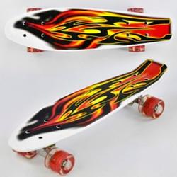 Скейт Пени Борд Penny Board с подсветкой колес красный
