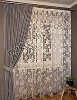 Жаккардовая белая тюль для спальни, фото 1