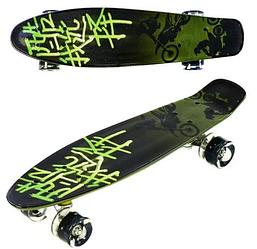 Скейт Пени Борд Penny Board с подсветкой колес зеленый