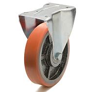 Колесо с неповоротным кронштейном с площадкой, диаметр 200 мм, диск чугун с полиуретановым контактным слоем