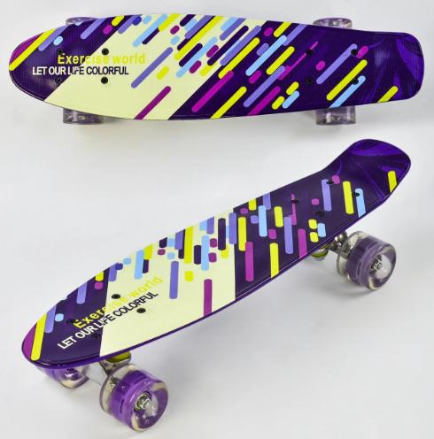 Скейт Пени Борд Penny Board с подсветкой колес фиолетовый