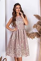 Красивое приталенное женское платье с отделкой кружева  S, M, L