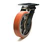 Колесо с поворотным усиленным кронштейном с площадкой, диаметр 200 мм, диск чугун/полиуретан