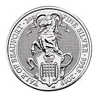 Серебряная монета - Чудовища Королевы Козёл Бофорта серебро 2019 (Queen's Beasts The Yale of Beaufort) 2 oz