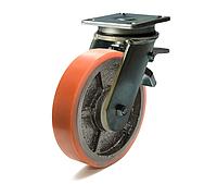 Колесо с поворотным усиленным кронштейном с площадкой с тормозом, диаметр 200 мм, диск чугун/полиуретан