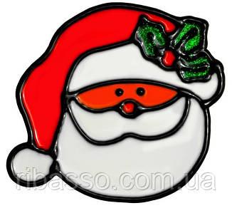 """Наклейка новогодняя для окон, диам. 10 см в асс. """"House of Seasons"""" Санта"""