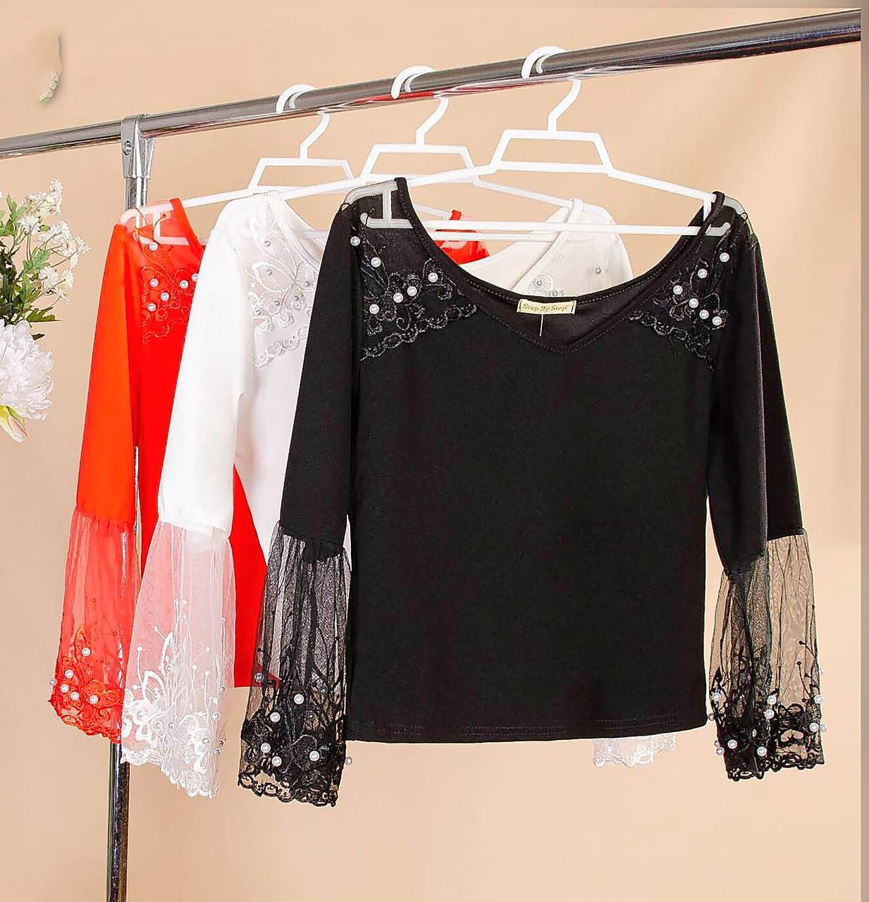 Нарядная красивая блузка с бусинками 42-44 ( в расцветках)
