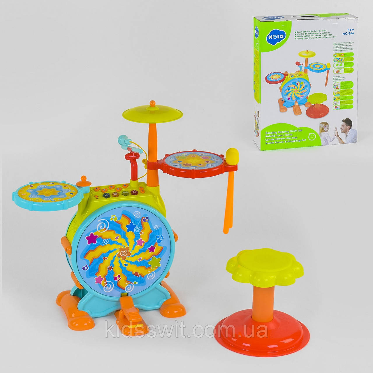 Детская барабанная установка, свет, звук, озвучка на англ.язык, 666