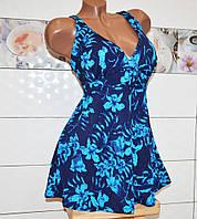 Большой 70 размер! Пляжный летний купальник платье танкини, синий с трусиками, для женщин.