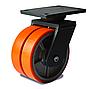 Колесо сдвоенное с поворотным усиленным кронштейном с площадкой, диаметр 150 мм, диск чугун/полиуретан
