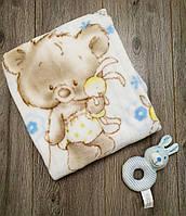 Конверт-одеяло с мягкой погремушкой для новорожденных весна-осень   Цвет голубой Турция